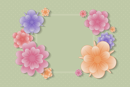 Colorful floral background - template of a card for Womens Day and Mothers Day vector.