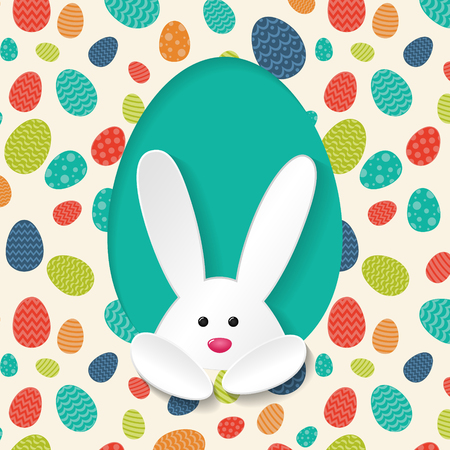 Poster with white bunny and colorful eggs - Easter design. Vector illustration.
