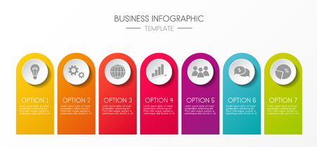 Layout of infographic with colorful icons and specified steps. Vector. Illustration