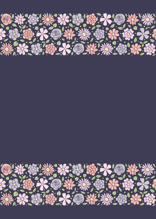 Floral poster with copyspace - design of a background with hand drawn flowers. Vector illustration.