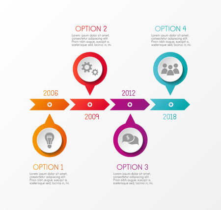 Concept of multicolored infograph with options. Vector illustration.