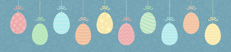 Easter - panoramic banner colorful eggs on floral texture. Vector illustration.