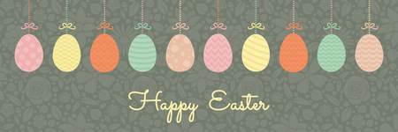 Panoramic header with hanging Easter eggs and wishes. Vector. Illustration