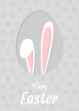 Easter bunny on background with eggs. Concept of a card with wishes. Vector.