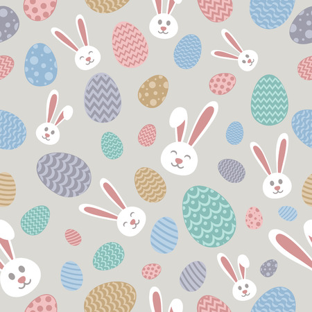 Colorful Easter wrapping paper with cute bunnies and eggs. Vector.