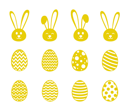 Easter bunnies and eggs - collection of icons. Vector.