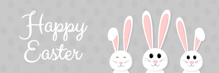 Easter decoration - panoramic banner with happy bunnies and wishes. Vector illustration. Illustration