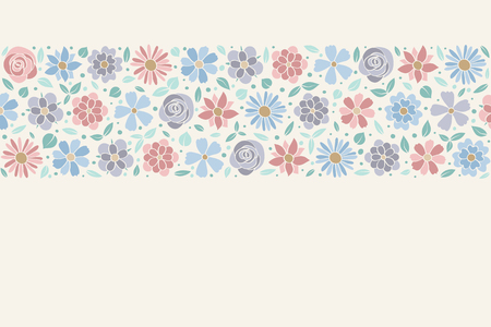 Template of a poster with pastel coloured flowers.