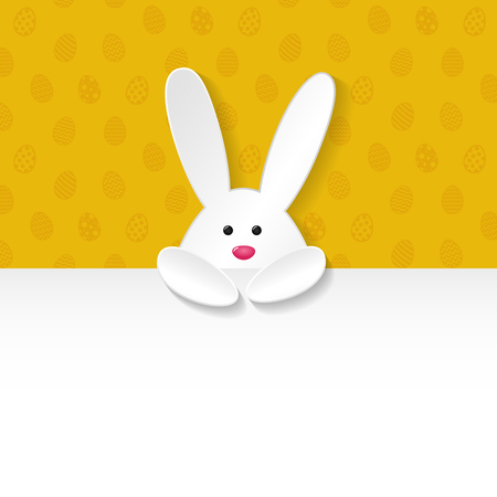 Easter background with bunnies and copyspace. Vector illustration.