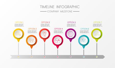 Diseño del hito de la empresa: infografía de línea de tiempo colorida. Vector.