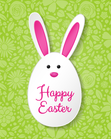 Concept of Easter card with bunny and greetings. Vector. Illustration