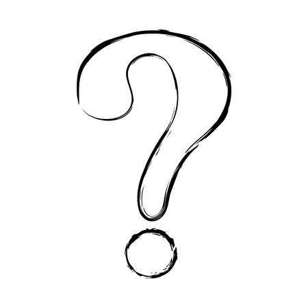 Cartoon question mark - hand drawn icon. Vector.