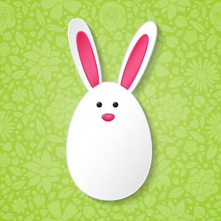 Funny Easter egg with ears - background with copy space. Illustration