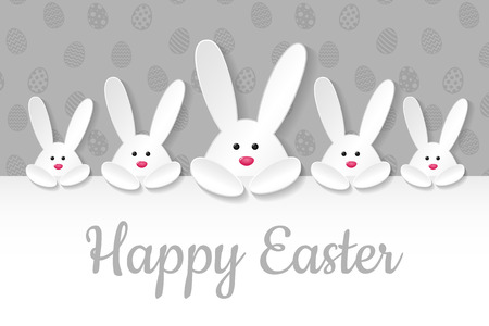 Easter decoration with white bunnies and greetings. Vector.