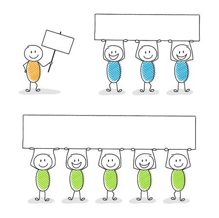 Stickmen, die eine Fahne mit copyspace anhalten. Vektor-illustration Vektorgrafik