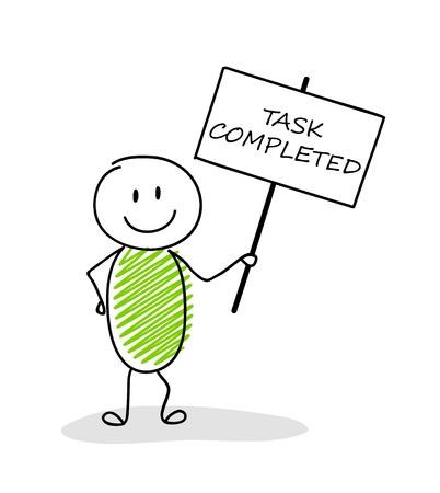 Cartoon man holding a banner with task completed text.