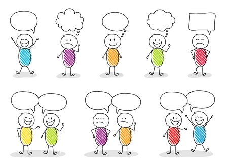 Funny stickmen with speech bubbles and different facial expressions.