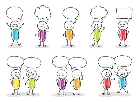 Divertidos stickmen con burbujas de discurso y diferentes expresiones faciales.