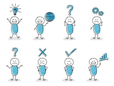 Concept bedrijfs en financiënpictogrammen met grappige stickmanreeks. Vector Illustratie