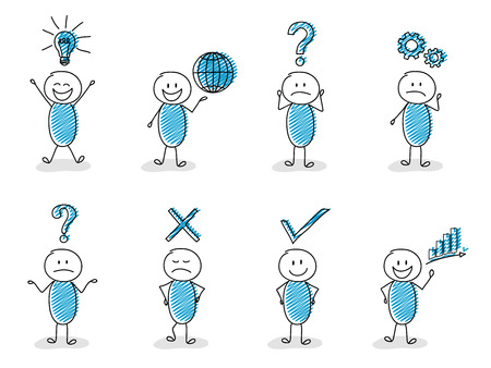 Concepto de iconos de negocios y finanzas con conjunto divertido stickman. Ilustración de vector