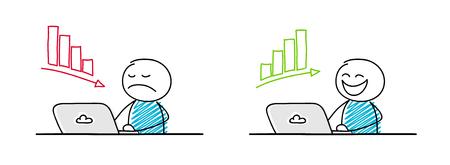 Happy and sad stickmen working on laptop. Illustration
