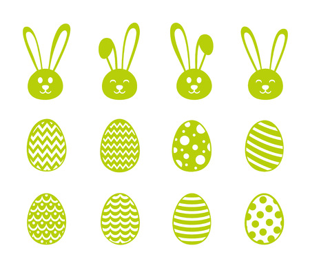 Easter decorations, set of bunnies and eggs vector.