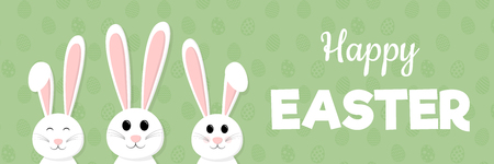 Concept of a panoramic header with happy Easter bunnies vector illustration.