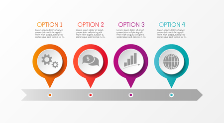 Timeline infographic company milestone vector illustration.