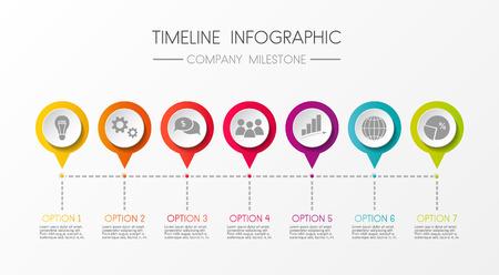 Timeline infographic, company milestone vector illustration.