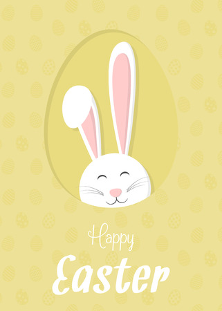 Happy Easter design of a card with bunny and wishes vector. Illustration