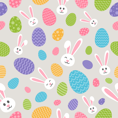 Concept of Easter wallpaper with bunnies and eggs seamless background vector.