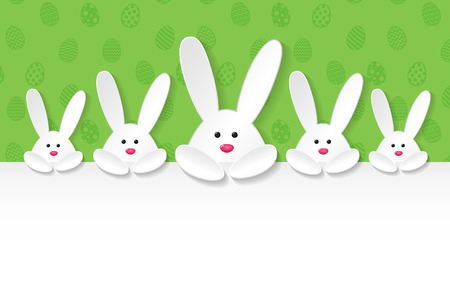 Cute bunnies on background Easter concept vector.