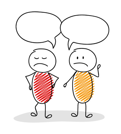 Talking stick men with speech bubbles, confused and angry facial expression vector. Illustration