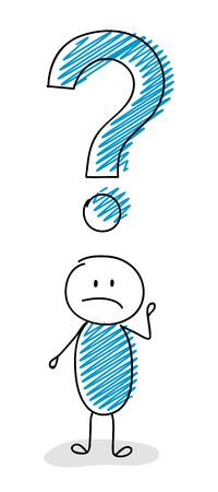 Cartoon stick man with question mark symbol, confused facial expression vector.