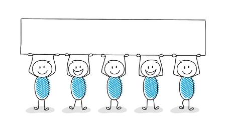 Funny cartoon stick men holding empty banner vector. Illustration