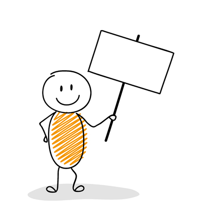 Funny cartoon stick man holding empty banner vector.