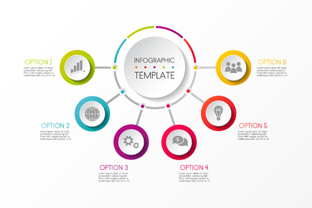 Template of business graph with colourful options. Vector. Illustration