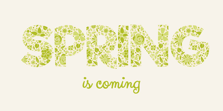 Floral text Spring colourful banner vector. Illustration