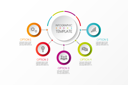 Colourful infographic template with business icons and specified steps. Vector.