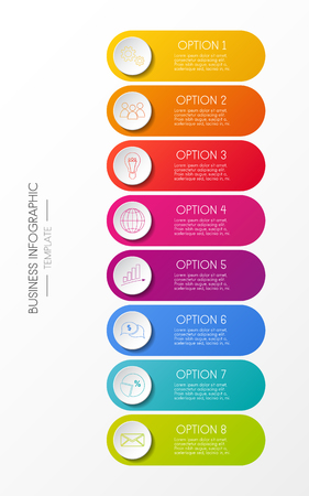 Multicolored infographic template - business icons. Vector. Illustration
