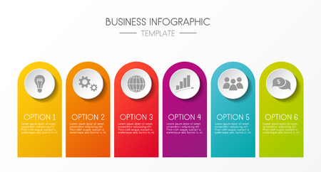 Infographic with business icons - colourful template. Vector. Illustration