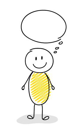 Funny stickman with empty speech bubble - smiley facial expression. Vector. Illustration