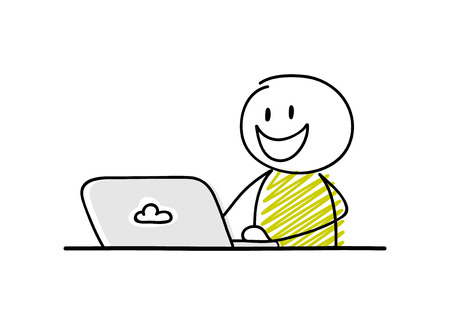 Funny businessman - cartoon stickman working on his laptop. Happy facial expression. Vectores