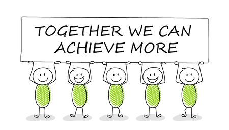 Ręcznie rysowane koncepcja stickman z tekstem biznesowym: razem możemy osiągnąć więcej. Wektor.