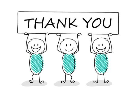 Illustration d'entreprise drôle - stickman de dessin animé tenant une bannière avec slogan: merci. Vecteur. Vecteurs