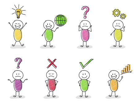 Funny business concept with stickmen and symbols - big collection. Vector.