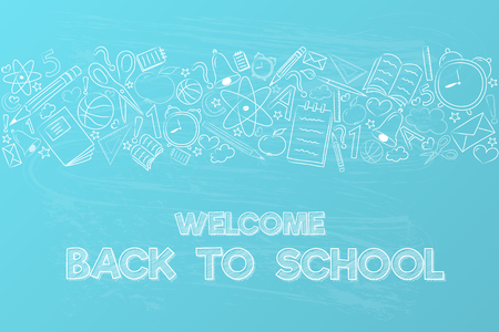 Back to school - poster with funny sketch and text. Vector.