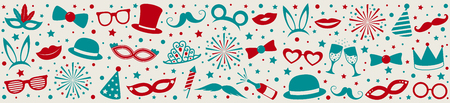 Party banner with funny elements - panoramic header. Vector. Illustration