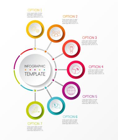 Multicoloured infographic template - company milestone. Vector. Vectores