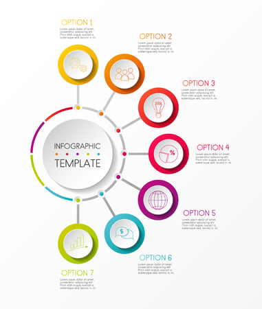 Multicoloured infographic template - company milestone. Vector. Stock Illustratie